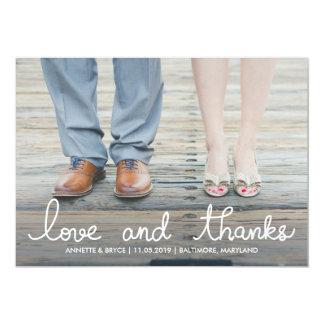 Liebe-und Dank-weißes Typografie-Hochzeits-Foto 12,7 X 17,8 Cm Einladungskarte
