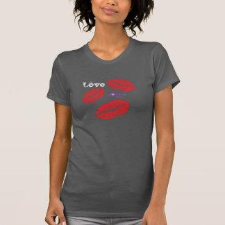 Liebe-und der Racerback der Rot-Kuss-Frauen T-Shirt