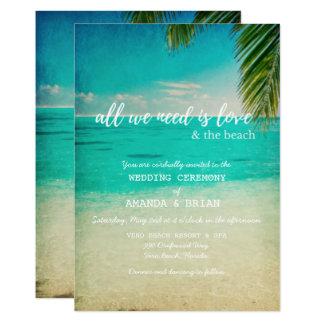 Liebe und die Strand-Hochzeits-Einladung 12,7 X 17,8 Cm Einladungskarte