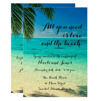Liebe und die Strand-Skript-Hochzeit laden ein Karte