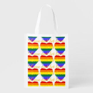 Liebe und gelassenes Lieberegenbogenherzmuster Wiederverwendbare Einkaufstasche