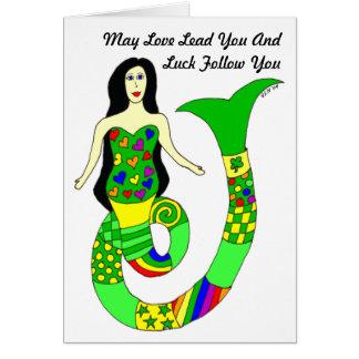 Liebe-und Glück-Meerjungfrau-St Patrick Tageskarte Karte