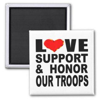 Liebe-Unterstützung und ehren unsere Truppen Quadratischer Magnet