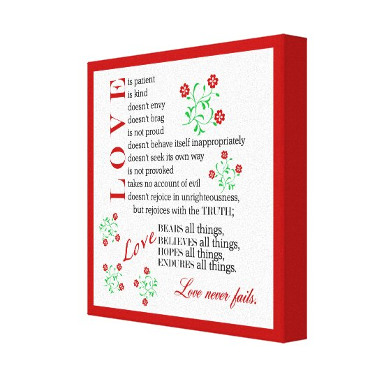 Liebe versagt nie | 1 Korinther 13 4-8 Leinwanddruck