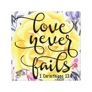 Liebe versagt nie 1 Korinther-13:8 Leinwanddruck