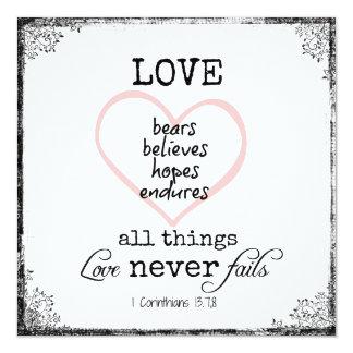 Liebe versagt nie Bibel-Vers-Hochzeit Karte