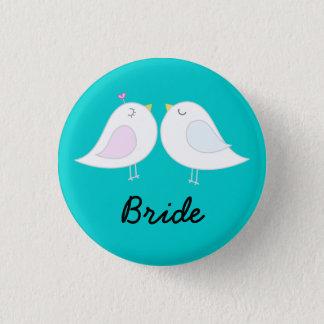 Liebe-Vögel auf Aqua-Braut-Knopf Runder Button 3,2 Cm