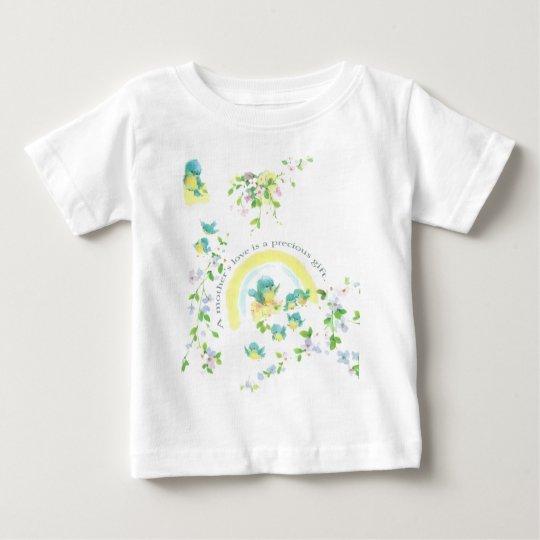 Liebe-Vögel der Mutter blaue Tages Baby T-shirt