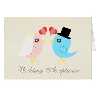 Liebe-Vögel, die Annahme Wedding sind Karte