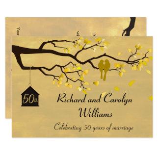 Liebe-Vogel-goldene Jahrestags-Einladung Karte