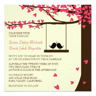 Liebe-Vogel-laden fallende Quadratische 13,3 Cm Einladungskarte