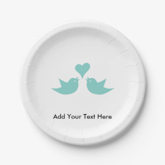 Liebe-Vögel mit Herz-Gewohnheits-Text Pappteller