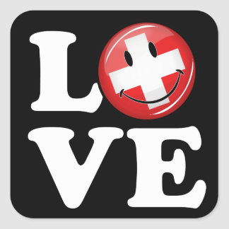 Liebe von lächelnder Flagge der Schweiz Quadratischer Aufkleber
