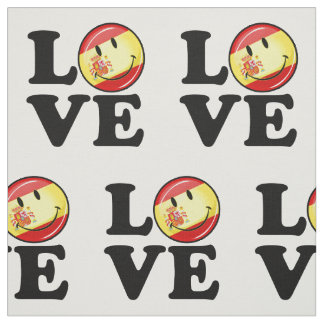 Liebe von lächelnder Flagge Spaniens Stoff