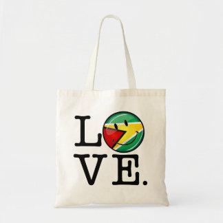 Liebe von lächelnder guyanischer Flagge Guyanas Tragetasche