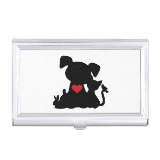Liebe-Welpen-und Kätzchen-Silhouette Visitenkarten-Schatulle