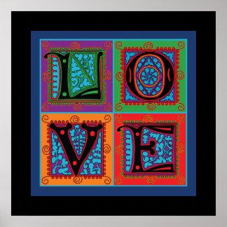 Liebe-Wort-Typografie Poster