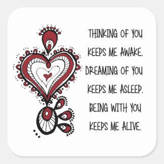 Liebe-Zitate der Tag des Valentines Quadratischer Aufkleber
