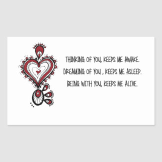 Liebe-Zitate der Tag des Valentines Rechteckiger Aufkleber