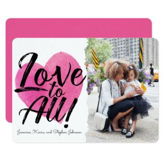 Liebe zu allem | Familien-FotoValentine 12,7 X 17,8 Cm Einladungskarte
