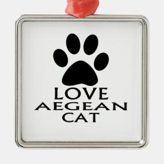 LIEBEägäische CAT-ENTWÜRFE Silbernes Ornament