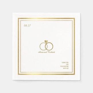Liebeherz u. zwei Hochzeitsringe, ein elegantes Papierservietten