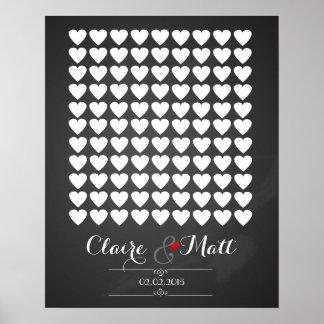 Liebeherzen, die unterzeichnendes Gastbuch wedding Poster