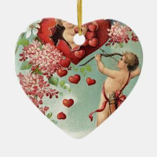 Liebeherzengels-Engel Vintager Valentine Keramik Herz-Ornament