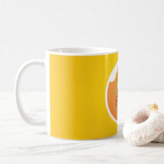 Liebenahrungsmittelgelb-Hintergrundentwurf Kaffeetasse