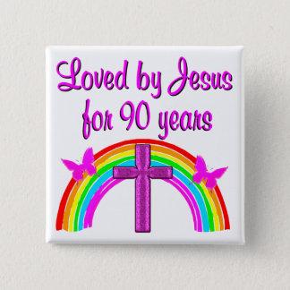 LIEBENDER 90. GEBURTSTAG JESUSS QUADRATISCHER BUTTON 5,1 CM