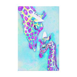 liebevolle Giraffen lila und Aqua Leinwanddruck