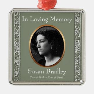 Liebevolles Foto-Denkmal-Verzierung des Quadratisches Silberfarbenes Ornament