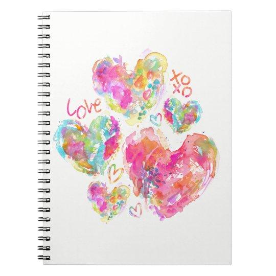 Liebewatercolor-Herz-Notizbuch Notizblock