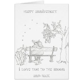 Liebhaber auf einer Bank Jahrestags-Karte Grußkarte