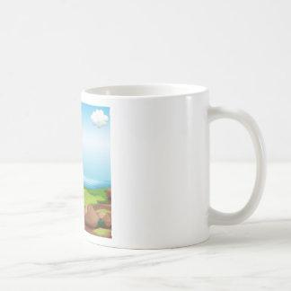 Liebhaber verabredeten am Riverbank Kaffeetasse