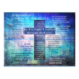 Lieblingsbibel-Verse mit christlichem Kreuz Postkarte