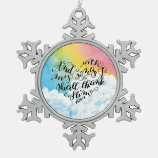 Lied von Erntedank 2 Schneeflocken Zinn-Ornament