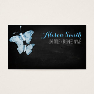 Light blue Butterflies on black chalkboard Visitenkarte