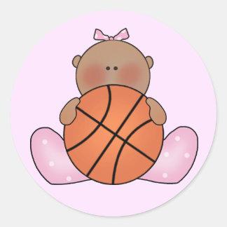 Lil Basketball-Baby - ethnisch Runder Aufkleber