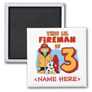 Lil Feuerwehrmann-3. Geburtstag Quadratischer Magnet
