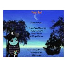 Lil Hexe die Piraten-Halloween-Party-Einladung
