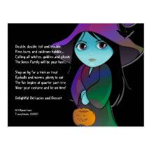 Lil Hexe in Regenbogen-Robe-Halloween-Einladung Postkarten
