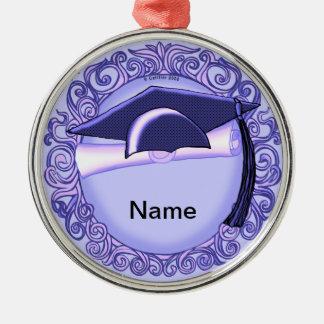 Lila Abschluss-Kappen-individueller Name Silbernes Ornament