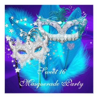 Lila aquamarine blaue Maske des Quadratische 13,3 Cm Einladungskarte