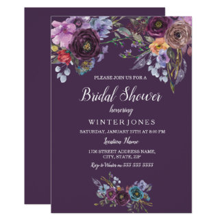 Lila aquamarine BlumenBrautparty-Einladung Karte