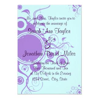 Lila/aquamarine Kreis-Strudel-Hochzeits-Einladung