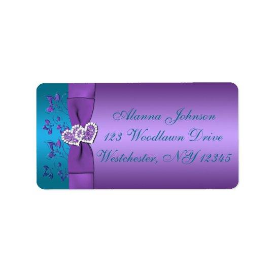 Lila, aquamarines Herz-Adressen-Etikett Adressetiketten