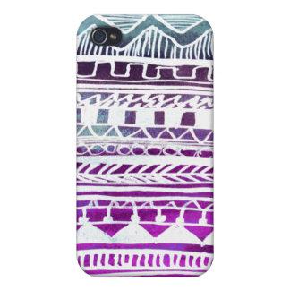 Lila aztekisches Muster iPhone 4 Schutzhülle