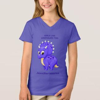 Lila Babytriceratops-Mädchen mögen Dinosaurier T-Shirt