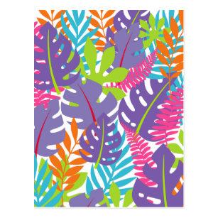 Lila Blätter des Pink Tropical Dschungel Palm Postkarte